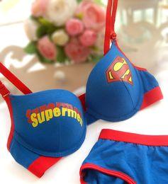 Wholesale Sexy Girl Intimates Back - New Sexy Young Girl Bra Set Pure Cotton Material Superman Bra Women Underwear Bra Brief Sets Intimates B32
