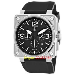 Wholesale BRAND Top quality Luxury BR01 STEEL Aviation Black Dial Rubber Strap Mens Men s Watch Watches