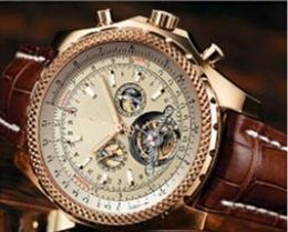 Hot sale Christmas gift new fashion brown leather band mens watch stainless steel luxury man Mechanical watches