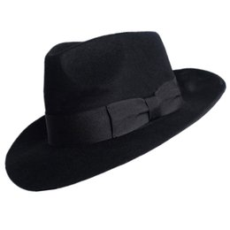 Wholesale New Woolen Hat Australian Wool Michael Jackson Concert Dance Fedoras Classic Black Wide Brim Jazz Gentleman Hats