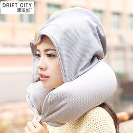 Wholesale Drift city with cap u pillow neck pillow siesta pillow cap aircraft travel pillow U shaped hooded pillow