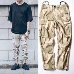 military urban hiphop clothing overalls men kanye west fashion joggers men's baggy tactical camo cargo pants camouflage