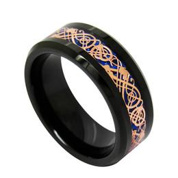 Tungsteno anillos de carburo de dragón en Línea-8 mm de fondo color de rosa azul del dragón del oro incrustaciones de joyería de moda anillo del dedo de tungsteno anillo de carburo para los hombres