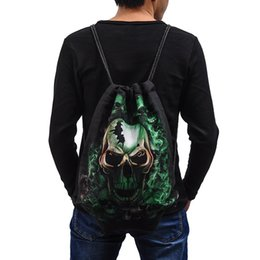 Wholesale Casual Travel Bags Europe and America Outdoor Activity Drawstring Backpack D Printing Cotton Shoulder Bags Fashion Sport Skull Gym Sack