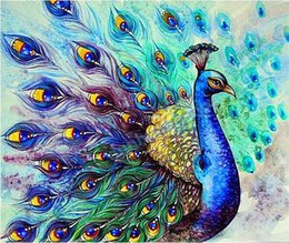 100% round Full Area Highlight Diamond Needlework Diy Diamond Painting Cross Stitch Kit Diamond Embroidery animal Peacock098 free shipping