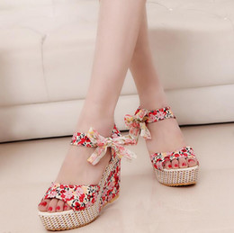 2015 summer Bohemian lace shoes slope with high-heeled sandals heavy-bottomed platform shoes bow princess shoes