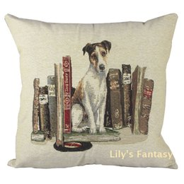 Wholesale Retro Vintage Jack Russell Terrier Dog Book Home Decorative Thick Knitted Cotton Linen Pillow Case Cushion Cover CM
