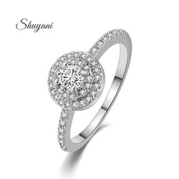 SHUYANI Jewelry Austrian Crystals Ring 18K Rose Gold  Platinum Plated Engagement Rings For Women Wedding Ring