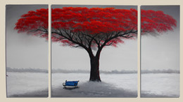 Wholesale 3 Pieces Canvas Art Handpainted Red Tree Painting Large Wall Decoration Wood Frame Inside Ready to Hang