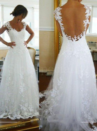 Wholesale Elegant Affordable Wedding Dresses Sexy A Line Covered See Through Back Appliques Lace Floor Length Best Selling Wedding Dress