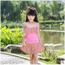 Wholesale Summer children s One Pieces swimsuit new skirt type girls swimwear Bikinis banana fruit pattern swimsuit swim beach DHL