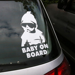 Wholesale Fashion Lovely Baby On Board Warning Decal Reflective Waterproof Car Window Vinyl Stickers Color Black White