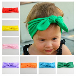 INS headbands ears hair stick haribands cotton soft baby hair knotted hair band girl cute rabbit ears headband 17 colors infant hairbands