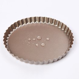 Wholesale 2016 Hot Sale New Real Baking Tools Pie Pan Fluted Champagne Gold Cake Baking Tray Non Stick Loose Base Mold Dish Pie BM