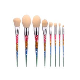 Mybasy Crystal 8pcs Unicorn Makeup Brush Set Nylon Hair Eyebrow Eyeshadow Powder Brush Rose Golden Portable Brushes