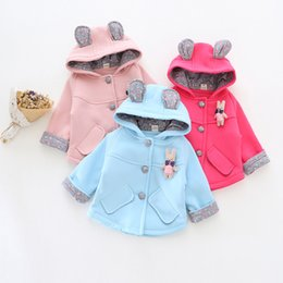 Wholesale Cute Baby Girls Floral Patch Coats Fall Kids Clothes for Boutique Years Old Girls Bear Hood Solid Color Outerwear