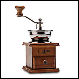 Wholesale Wood Stand Bowl Hand Coffee Crank Grinder Coffee Mill Bean Machine New Antique Manual Coffee Grinder