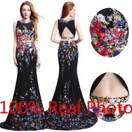 Wholesale Real Photo Amazing Petal Power Printed Two Piece Prom Dresses Real Photo Dubai Arabic Mermaid Cheap Occasion Evening Formal Lycra Dress