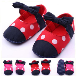 Wholesale Hot Sale Baby Girls Shoes Big Polka Dot Printing Textil Bow Elastic Strap First Walker Toddler Months