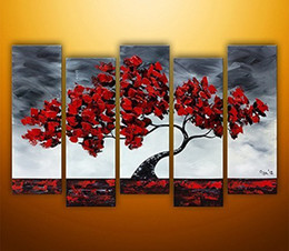 Wholesale Hand Painted Oil Paintings Beautiful Maple Tree Swaying In The Wind Panels Wood Framed Inside For Living Room Art Work Home Decoration