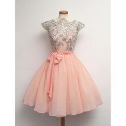 Wholesale Real Photo Prom Dresses Short Pink Chiffon Appliques Lace High Neck Cap Sleeves A line Sheer Online Store Vestidos De Fiesta Baratos