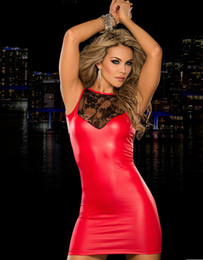 30% Off New Arrival Hot Summer Sleeveless Faux Leather Sinfully Red Sexy Lace Top Mini Dress W14005