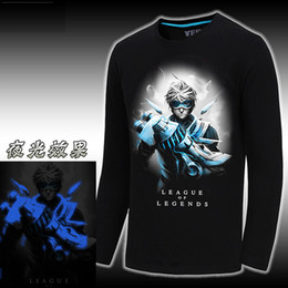 Wholesale 3D T Shirt Polos League Of Legends Long Sleeved T Shirt Tees Cotton LOL Glow T shirt Game Animation Clothing