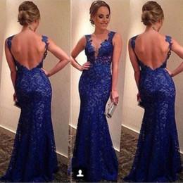 Скидка синяя панель Royal Blue 2016 Вечерние платья полный шнурок Applique Mermaid Sheer панели погружаясь декольте Backless Длина пола платье Pageant 2017 Пром платье