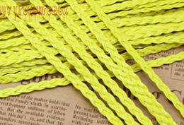 Free Ship 100Meters Luminous yellow Flat Braided Leather Cord String Rope, Jewelry Beading String, For Bracelet & Necklace, 5mm Wide