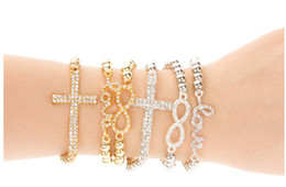 Wholesale Fashion PC Beads Strand Bracelet Crystal Cross Double Heart Arm Candy Party Stack Bracelet For Women SB