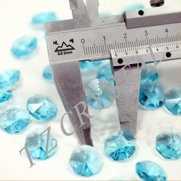 Wholesale mm Aqua Chandelier Crystal Bead Door Window Crystal Octagon Beads in Hole Home Decoration Accessories