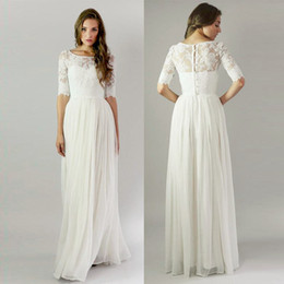 Vintage Long Beach Wedding Dresses With Half Sleeves Bohemian Lace Boho Wedding Dresses Buttons Back Bridal Gowns Robe De Mariage