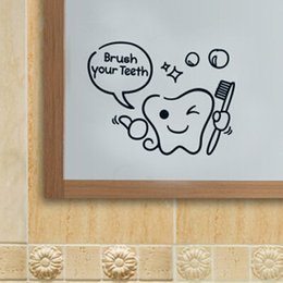 Wholesale Children carton brush one s teeth bath room decoration sticker glass mirror decorative stickers wall sticker