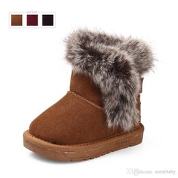 Wholesale Cute Boots For Baby Girls - Genuine leather kids snow boots Winter baby shoes for girls and boys Warm cute toddler ankle boots Tmainy children's shoes