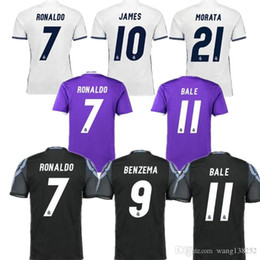 Real Madrid 16-17 jersey uniform home away men sets Maillot de foot 2017 Ronaldo james bale benzema kroos modric football shirts