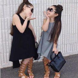2016 Summer Sleeveless Grey Black Girls Dresses Children Sundress Baby Girls Clothes Tank Tops Vest Girl Dress 90-120 Cotton