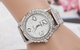 Wholesale Europe America Fashion Men And Women Swiss Watches Alloy Diamond Quartz Lovers Gear Wristwatchse Men Stianless Steel Band Watch