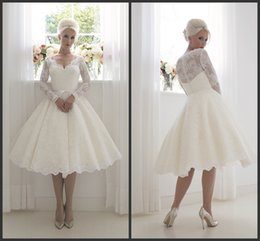 Wholesale Long Sleeves A Line Wedding Dresses House Of Mooshki KR V Neck Beatrice Short Vintage s Lace Ivory Bridal Gowns Tea Length