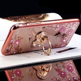 Wholesale Newest Luxury Mobile Phone Case for iPhone5s se s Plus sPlus Plating Secret Garden Flower Butterfly Diamond Soft TPU Cover