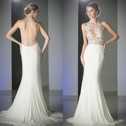 Gorgeous 2016 New Arrival White Chiffon Mermaid Style Prom Dresses Long Sexy Halter Open Back Applique Fitted Beaded Party Gowns EN3266