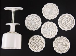 75g White round flower mooncake molds with 6 Stamps plastic hand pressure chinese mooncake mould,20sets lot