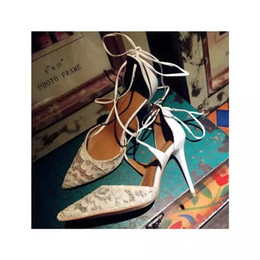 2016 Spring Summer AQUAZ Matilde Lace & Leather Bridal Pumps shoes sexy lace up fine laces wedding shoes for women 9.5cm heel white black