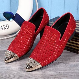 British Style Mens Red Leather Shoes Designer Luxury Pointed Toe RhineStone Suede Slip On Loafer Shoes For Party 38-46
