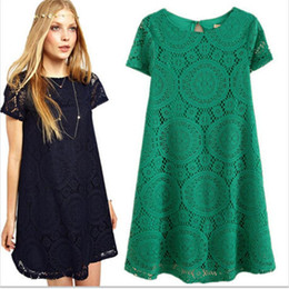 Summer Skater Dresses Nice New European and American Large Size 4XL Loose Short-Sleeved Dress Bottoming Hollow Lace Dresses for Womens