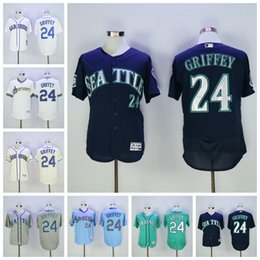 Wholesale Best Quality Ken Griffey Jr Jersey Hall Of Fame Patch Seattle Mariners Baseball Jerseys White Grey Beige Green Cream Blue Pullober