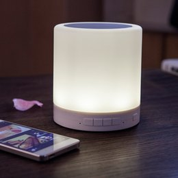 Portable LED Lighting Touch Lamp Speaker Wireless Bluetooth Speaker Smart Table Lamp Bed Bedside for Mobile Phone Support TF card