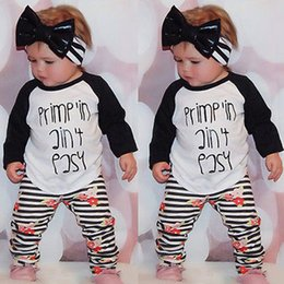 Wholesale NWT New INS Baby girls kids Outfits piece Set Spring Cotton long sleeve Tops Shirts Harem Striped rose floral Pants Tights leggings