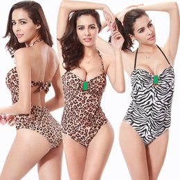 Wholesale S XL Women s Swimsuit Bikini sexy Swimwear zebra print size lace Halter Swimsuit Siamese triangle Beach Spa outdoor activities