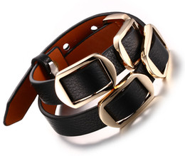 Women Handmade Personalized Adjustable Leather Bracelet with Gold Buckle Fashion Costume Jewelry Accessories
