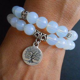 SN0644 Tree of Life Jewelry Yoga Bracelet Mala Bracelet Opalite Meditation Bracelet Stacking Bracelet Birthday Gift For Her